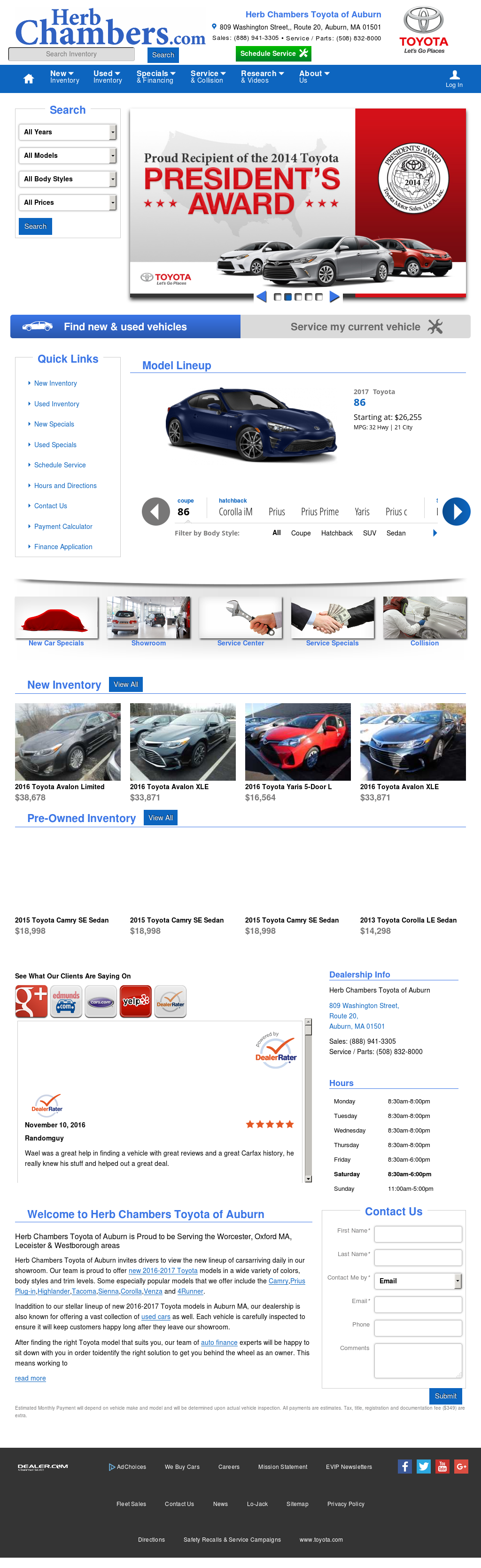 Herb Chambers Toyota Scion Auburn petitors Revenue and