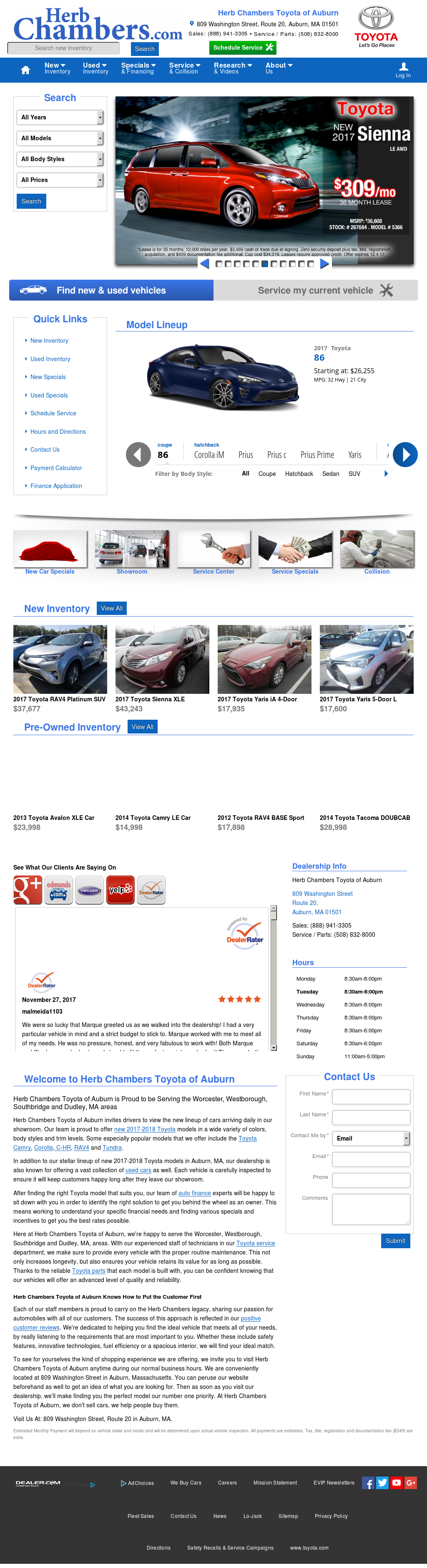 Herb Chambers Toyota Scion Of Auburnu0027s Website Screenshot On Nov 2017