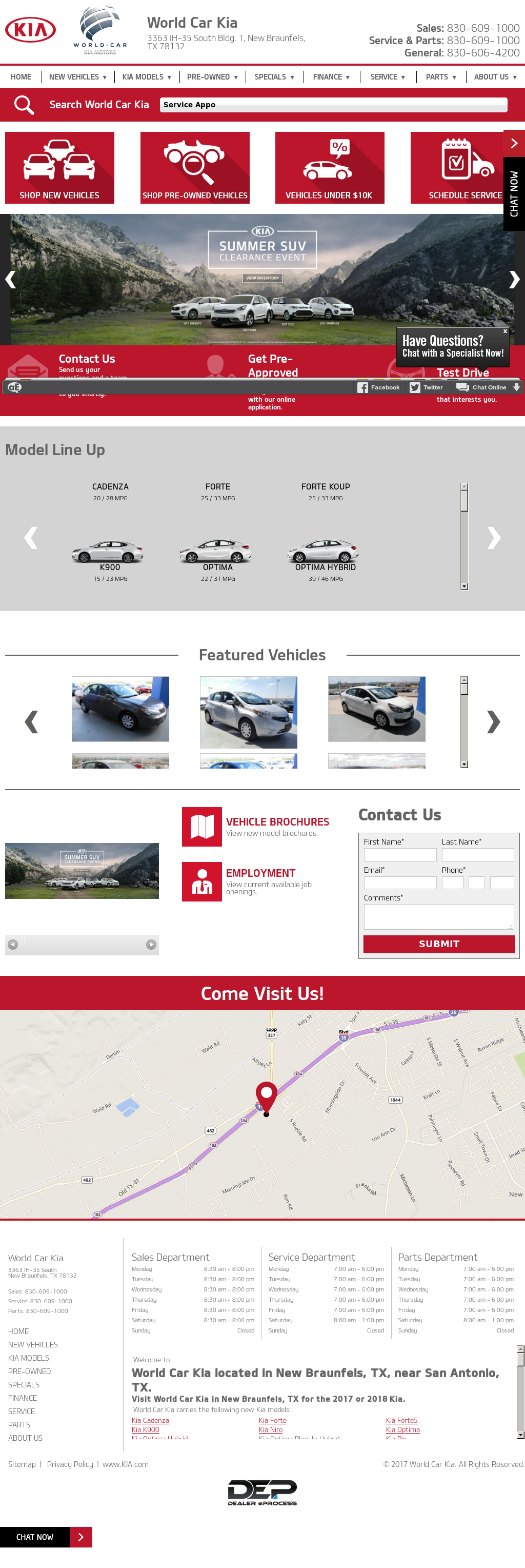 World Car Kia New Braunfels Website History