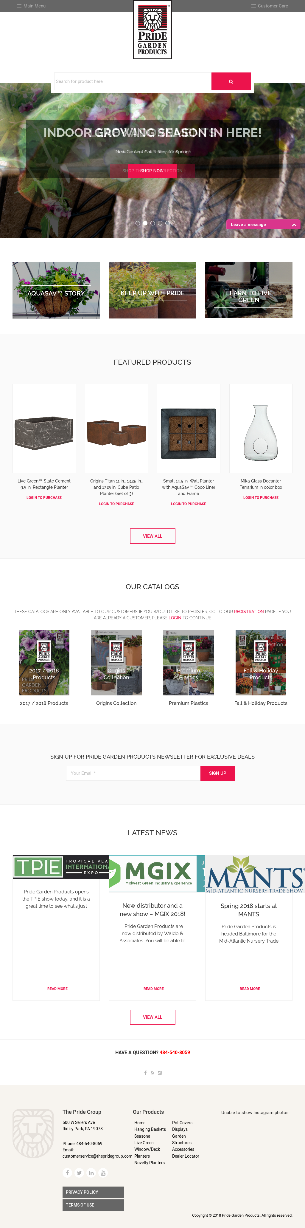 Pride Garden Products Website History
