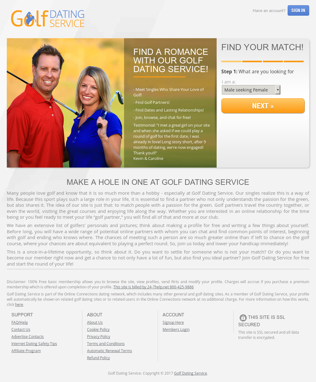 Online dating sites for golfers