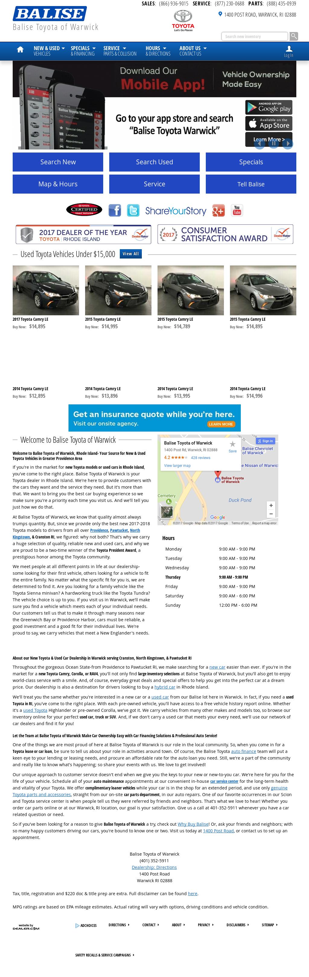 Balise Toyota Scion Of Warwick Website History