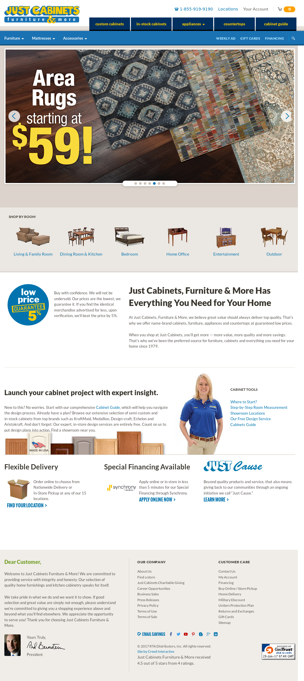 Justcabinets Website History
