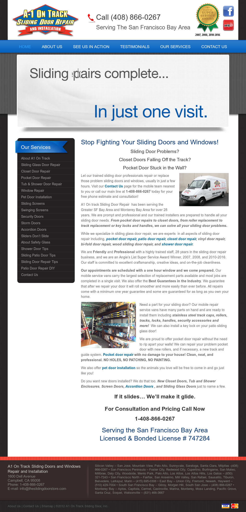 A1 On Track Sliding Door Repair And Installation Website History