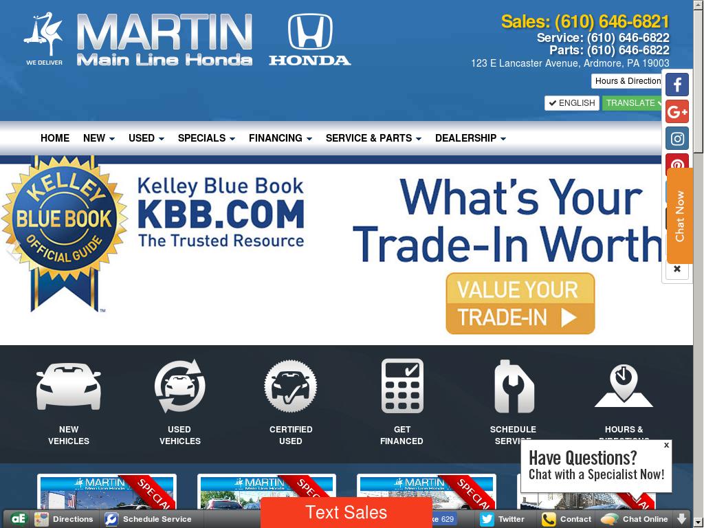 Martin Main Line Honda Website History