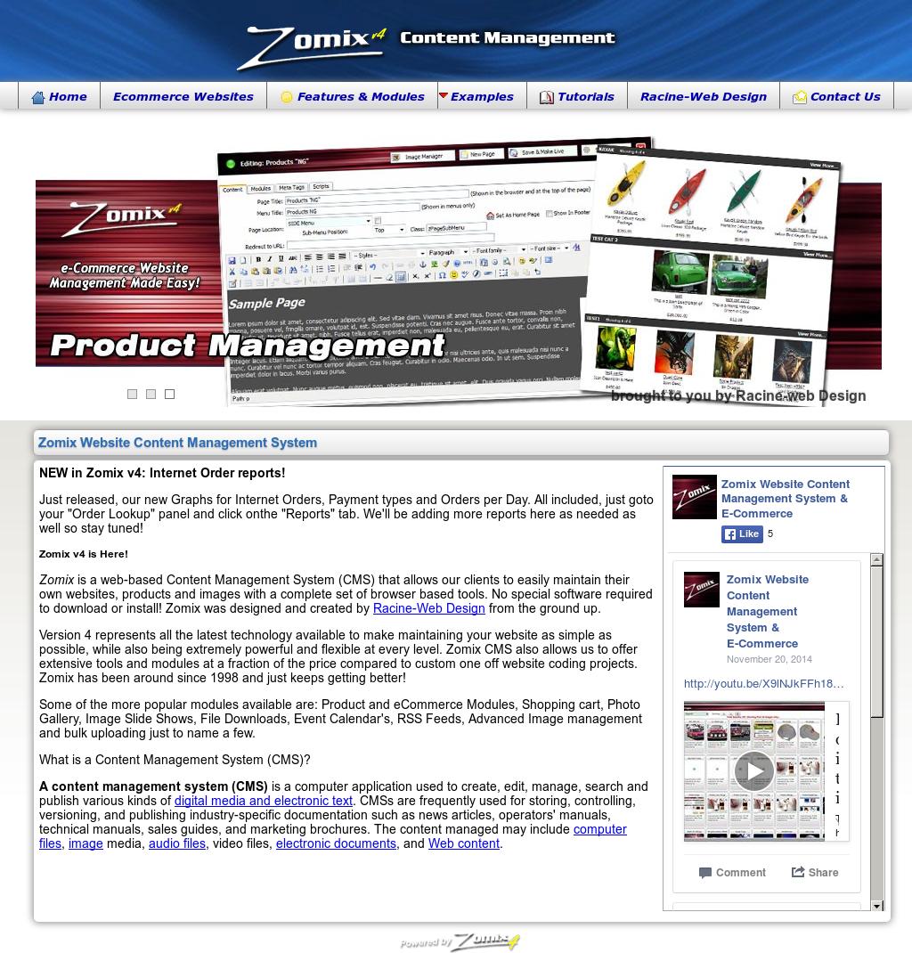 Zomix Website Content Management System & E-commerce