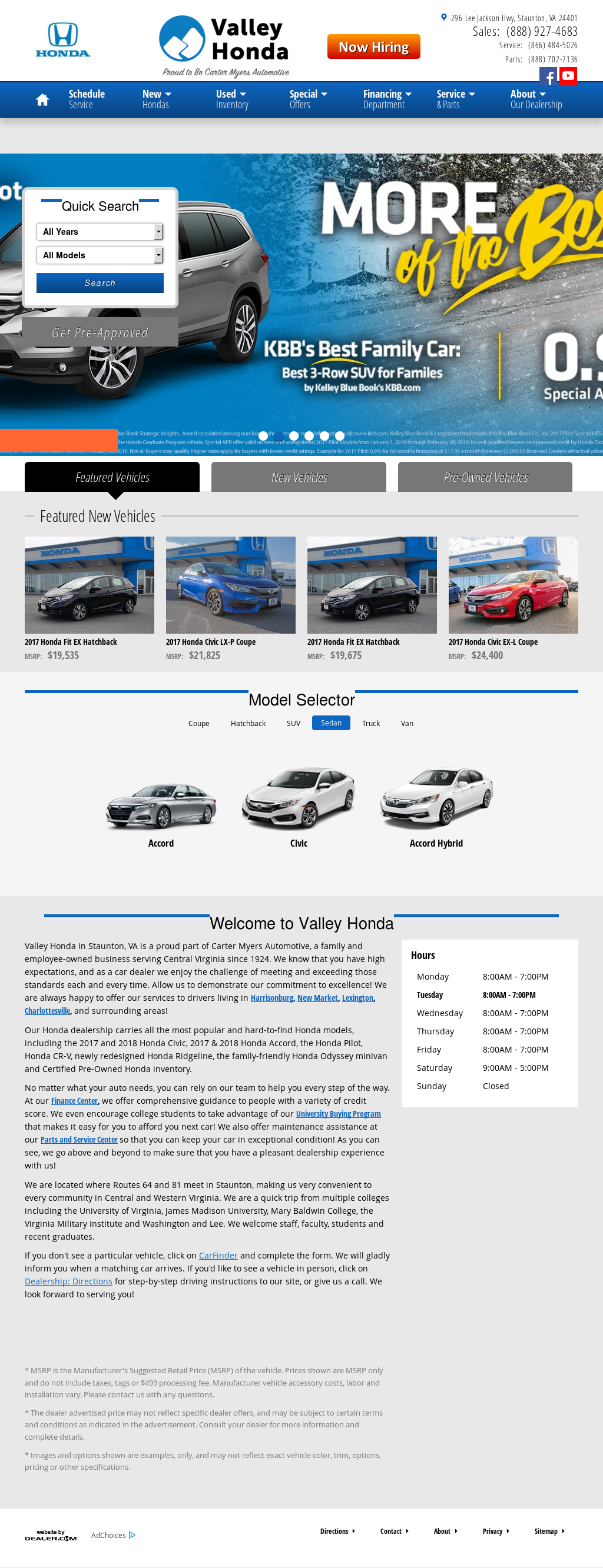 Valley Honda Of Staunton Website History