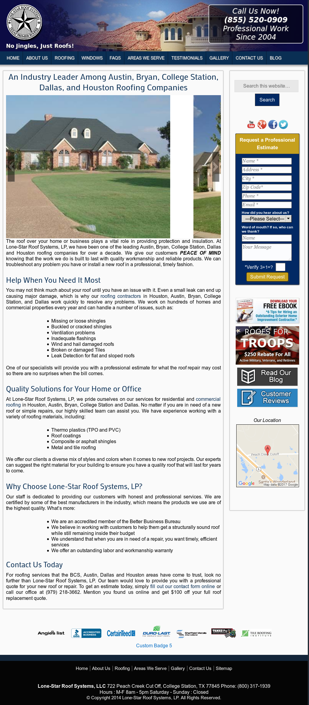 Lone Star Roof Systems Website History