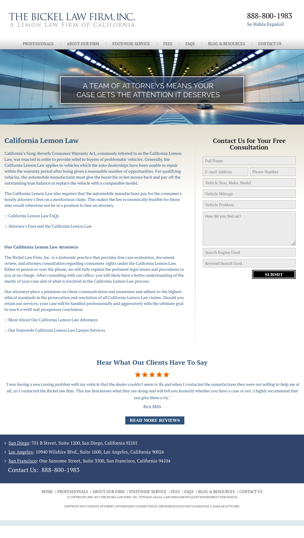 California Lemon Law Attorneys Bickel Law Firm Inc >> The Bickel Law Firm Competitors Revenue And Employees Owler