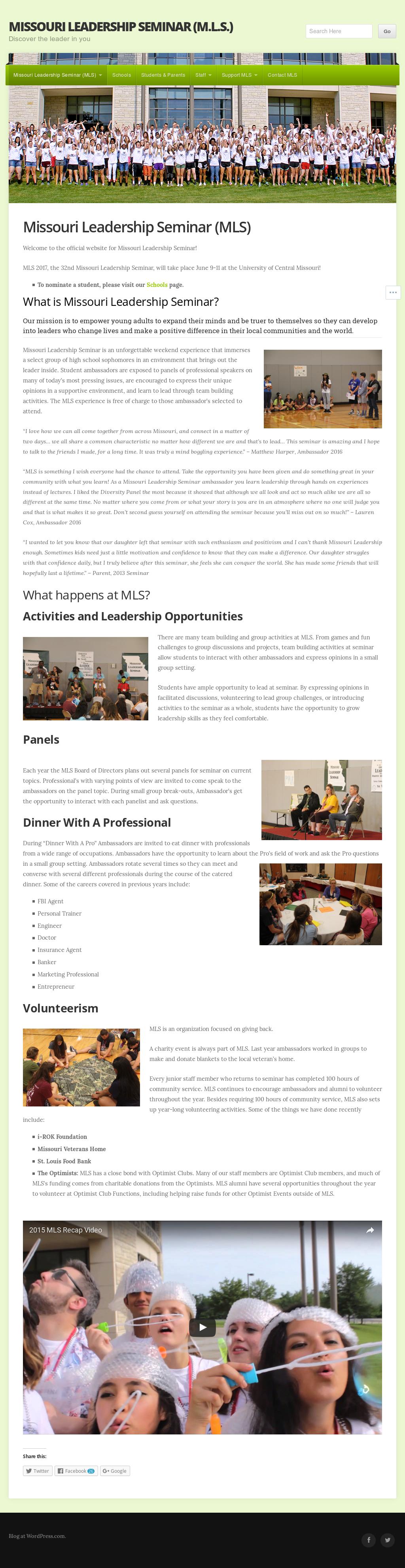 Missouri Leadership Seminar Inc Mls Website History