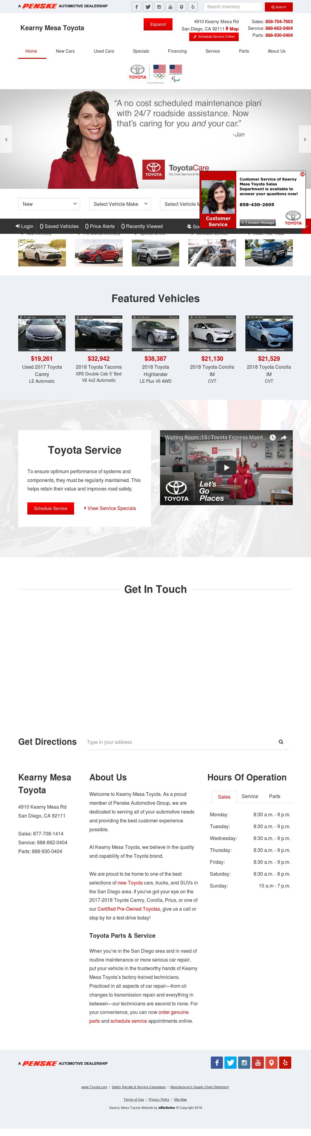 Kearny Mesa Toyota Website History