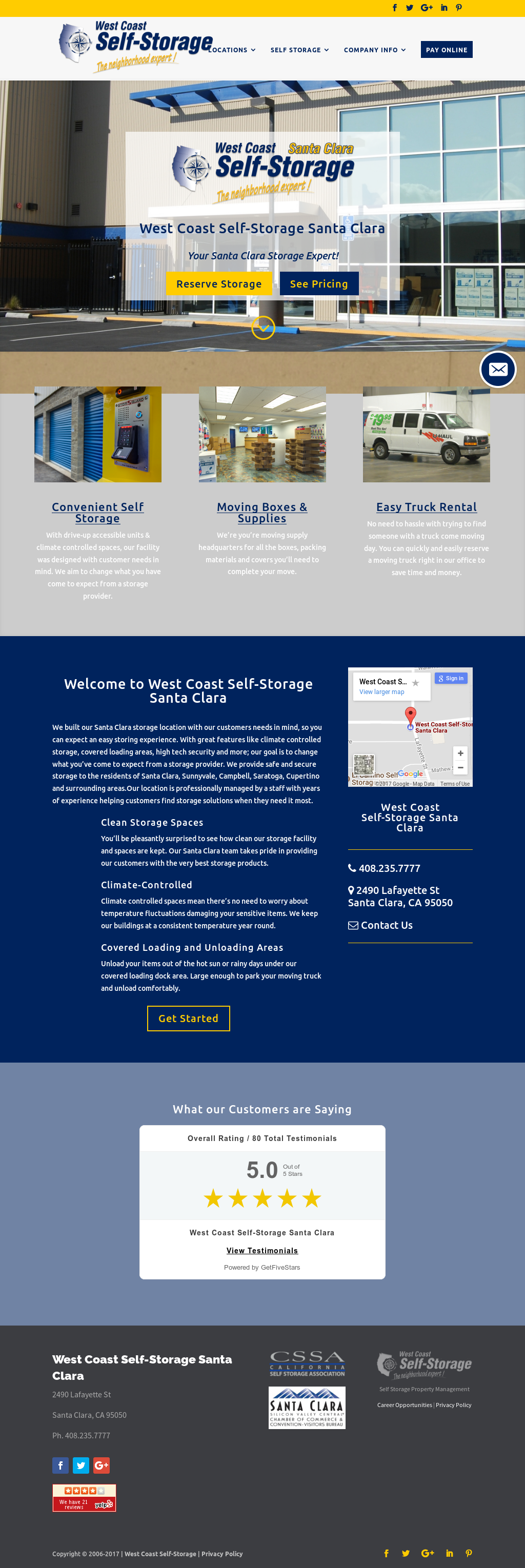 West Coast Self Storage Santa Clara Website History