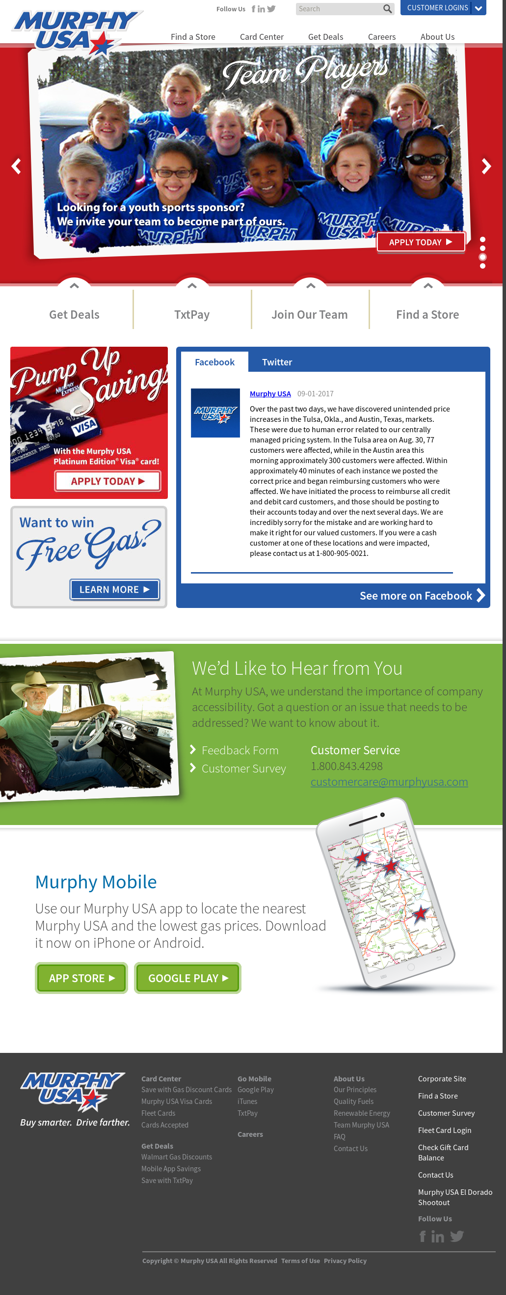murphy usas website screenshot on sep 2017 - Murphy Visa Card