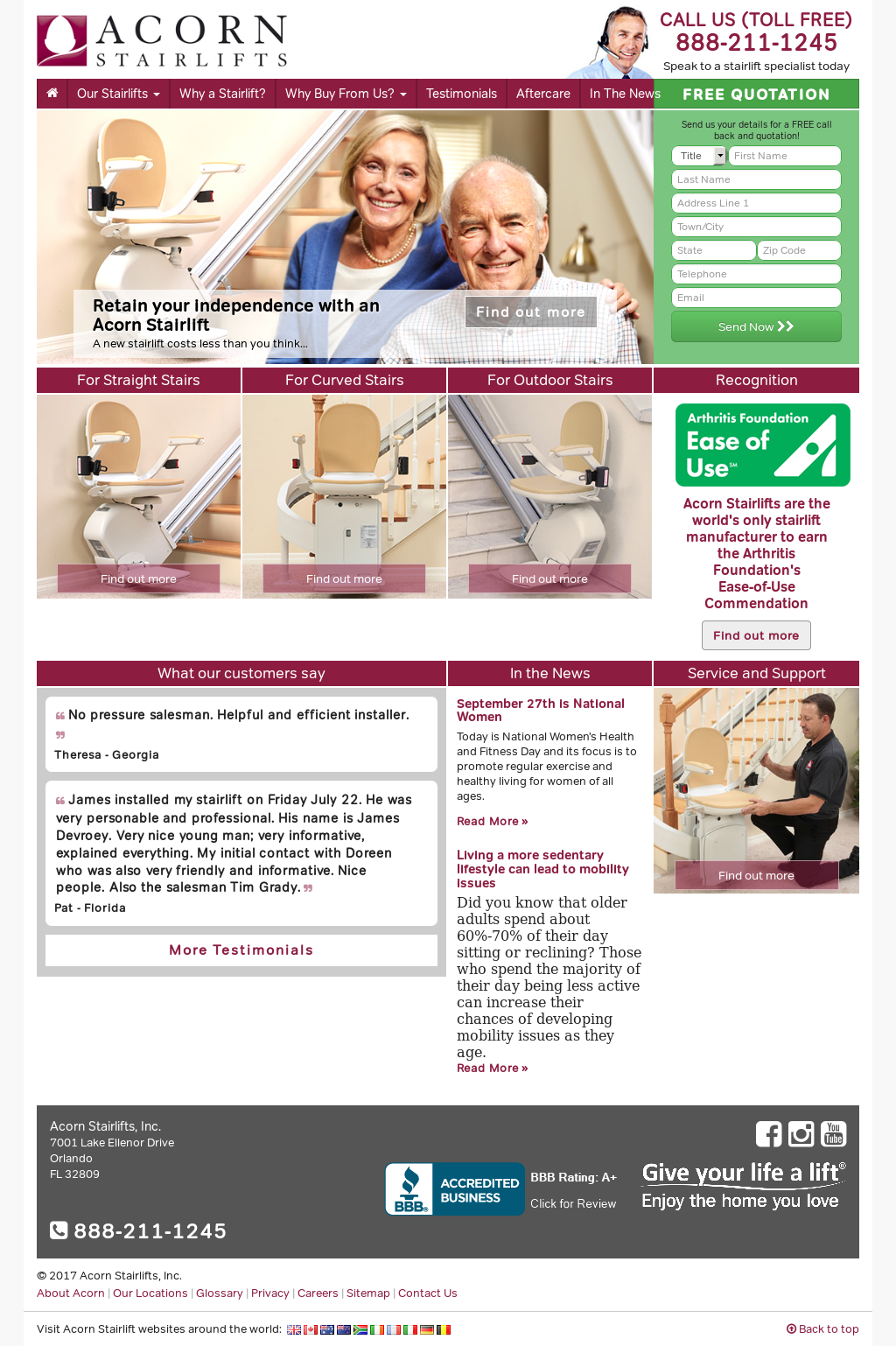 Acorn Stairlifts Website History