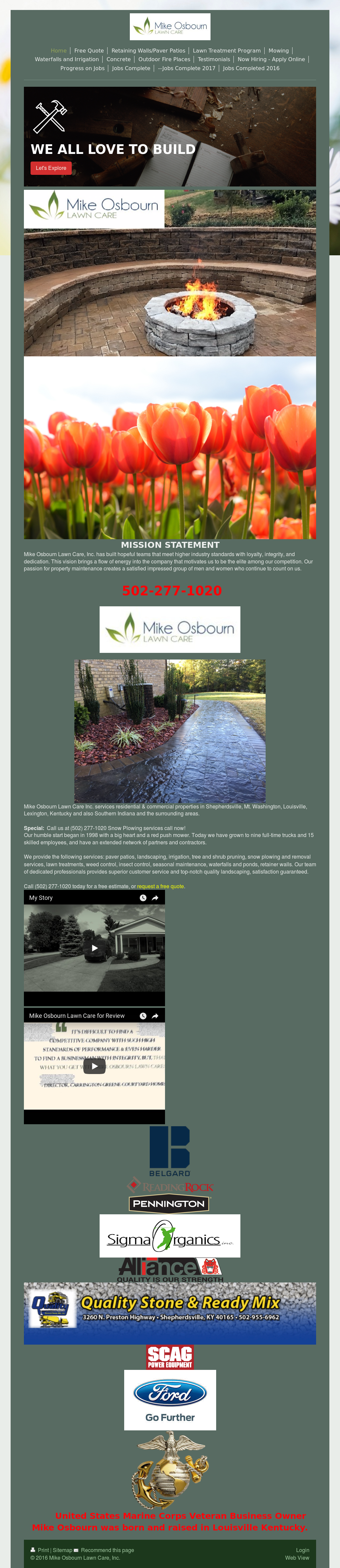 Mike Osbourn Lawn Care S Website Screenshot On Mar 2018