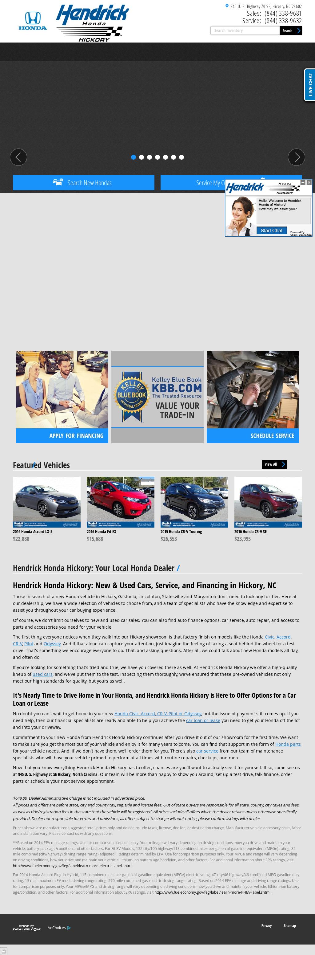 Hendrick Honda Hickory Website History