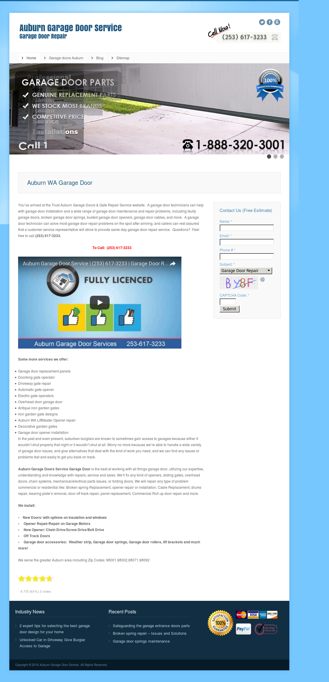 Auburn Garage Door Service Competitors Revenue And Employees