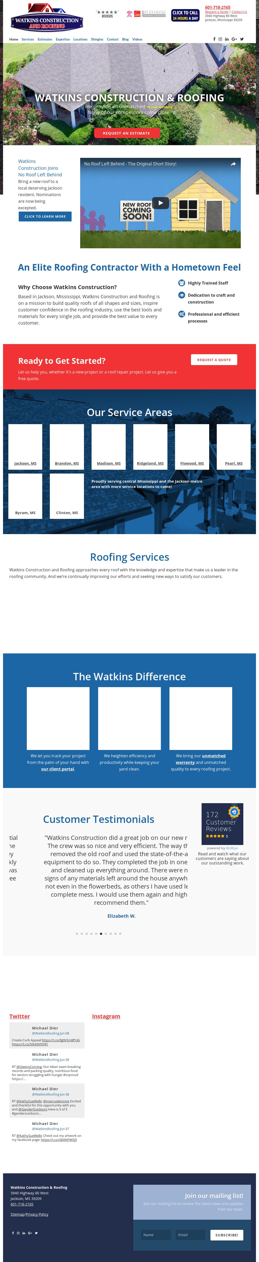 Watkins Construction Roofing Website History