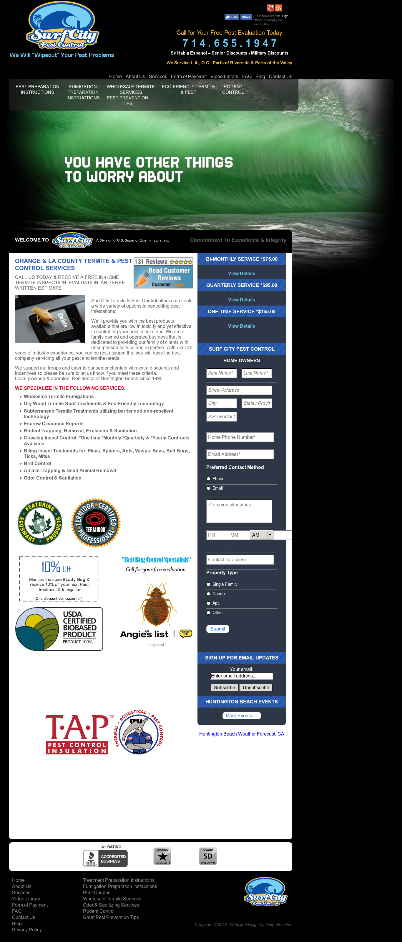 Surf City Pest Control S Website Screenshot On Mar 2018