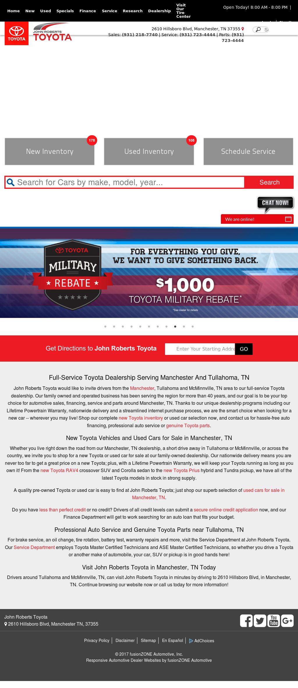 John Roberts Toyota Website History