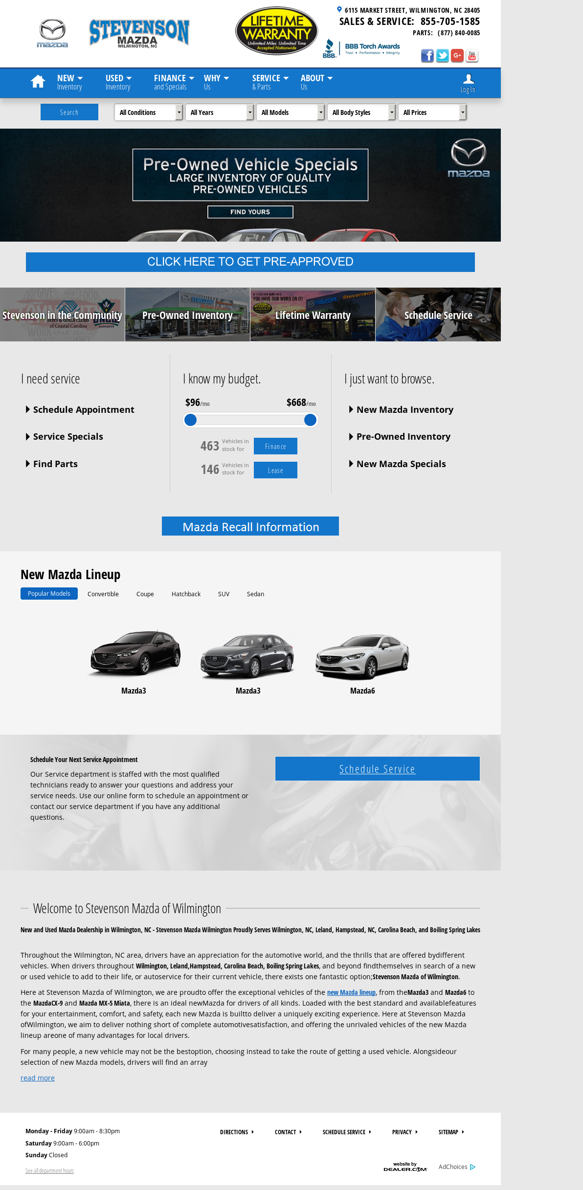Stevenson Mazda Website History