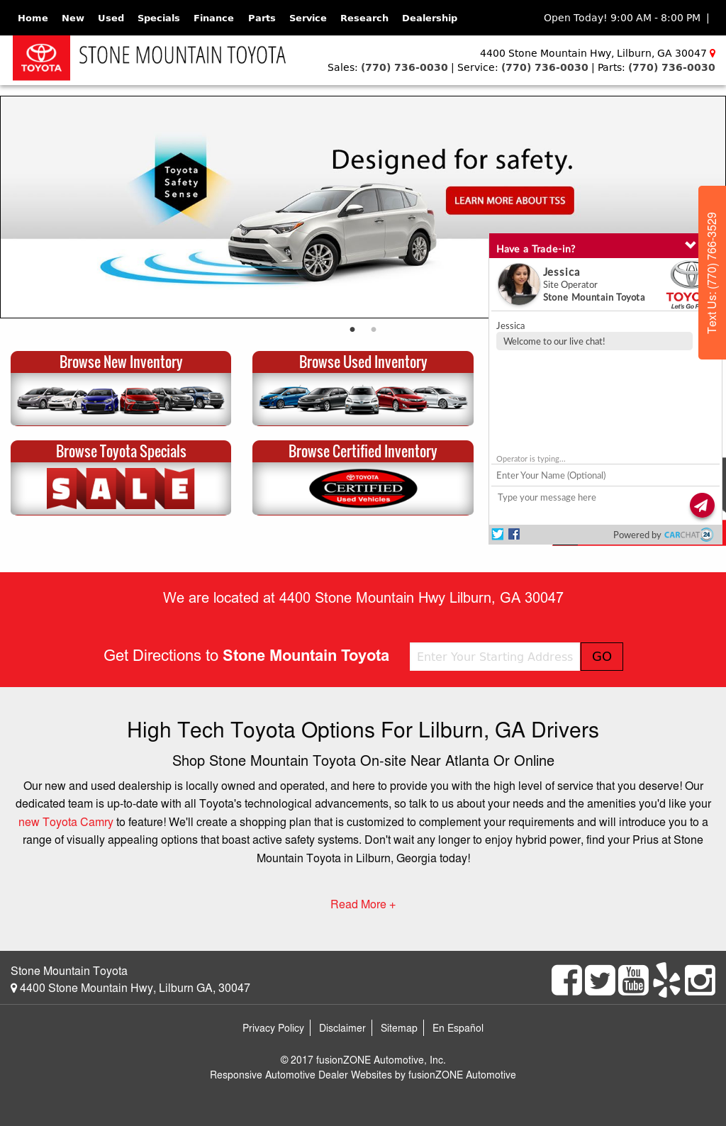 Stone Mountain Toyota Website History