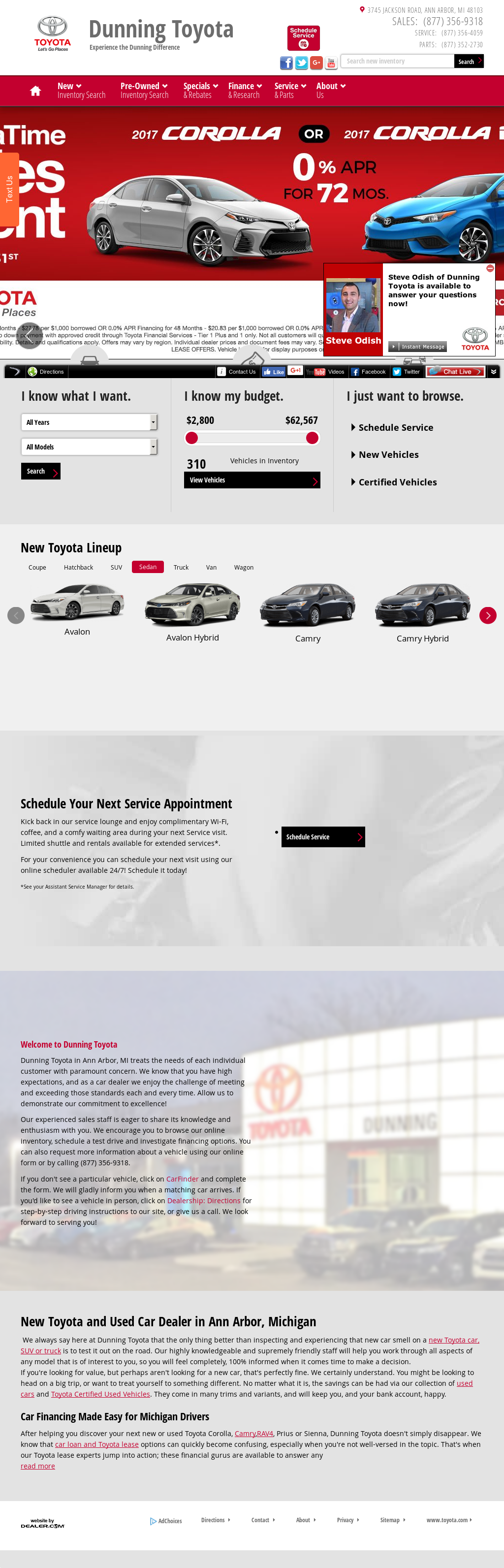 Dunning Toyotau0027s Website Screenshot On May 2017