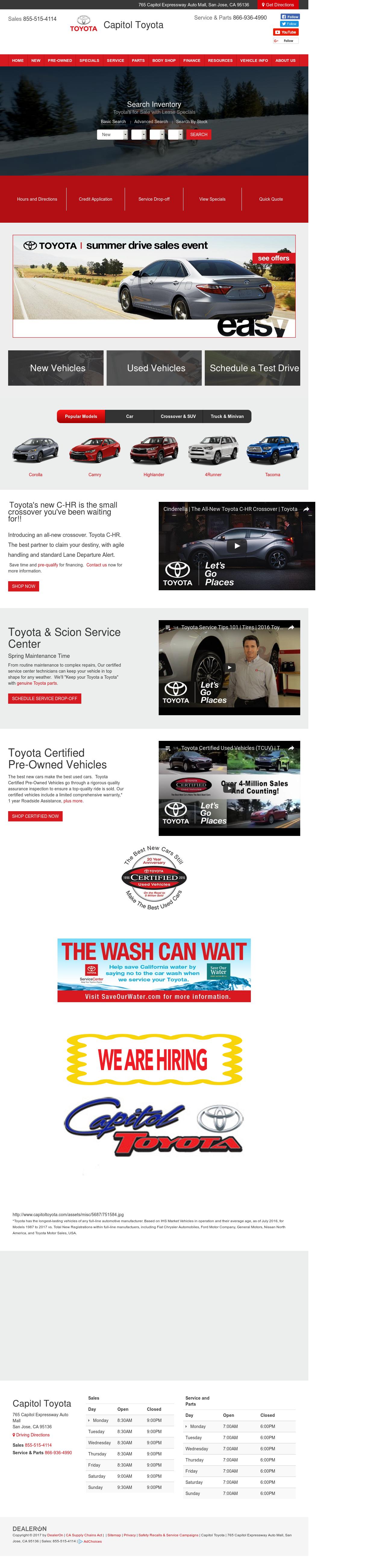 Capitol Toyota Scion Website History