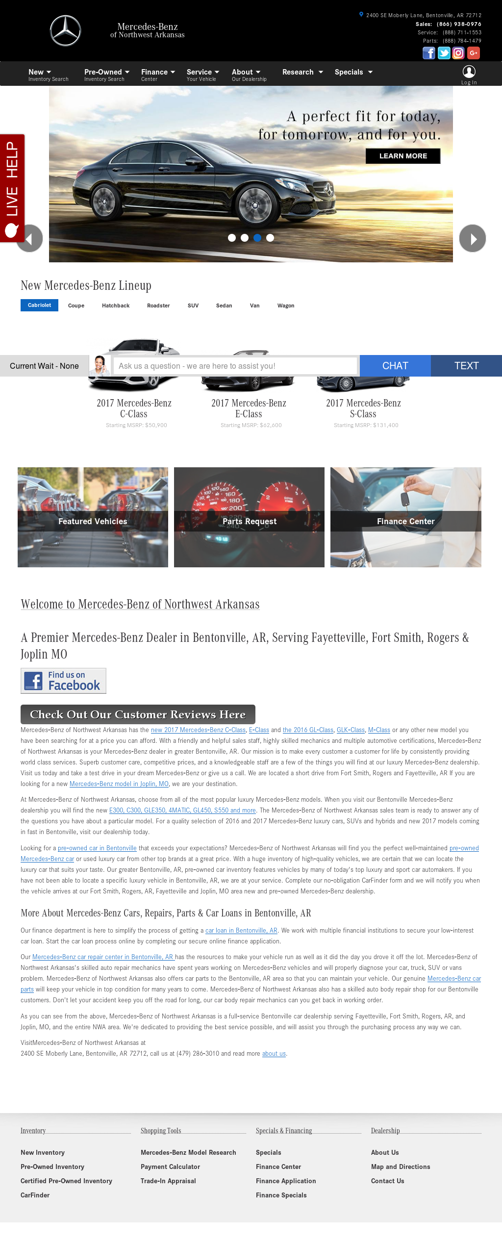 Mercedes Benz Of Northwest Arkansas Website History