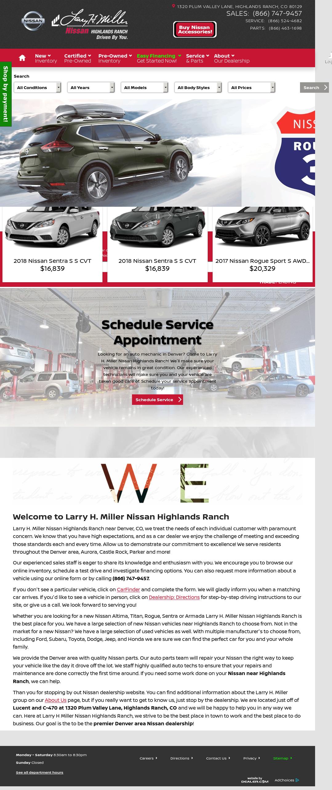 Larry H. Miller Nissan Highlands Ranch Website History