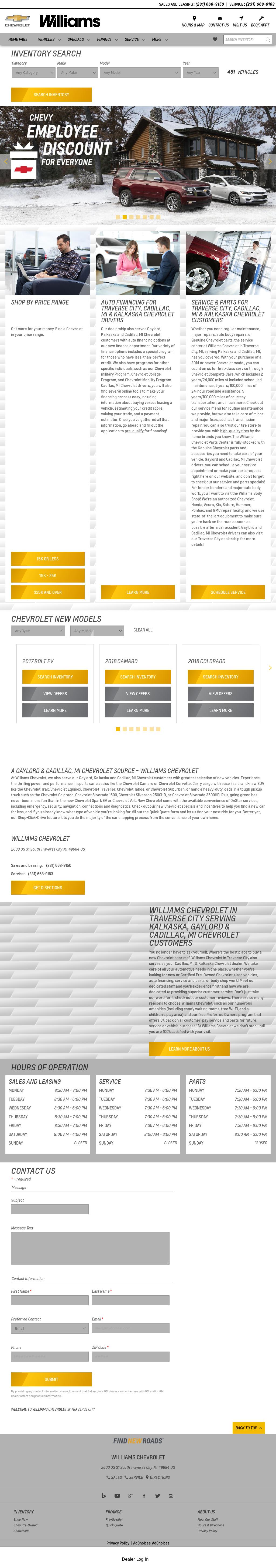 Williams Chevrolet Honda Geo Website History