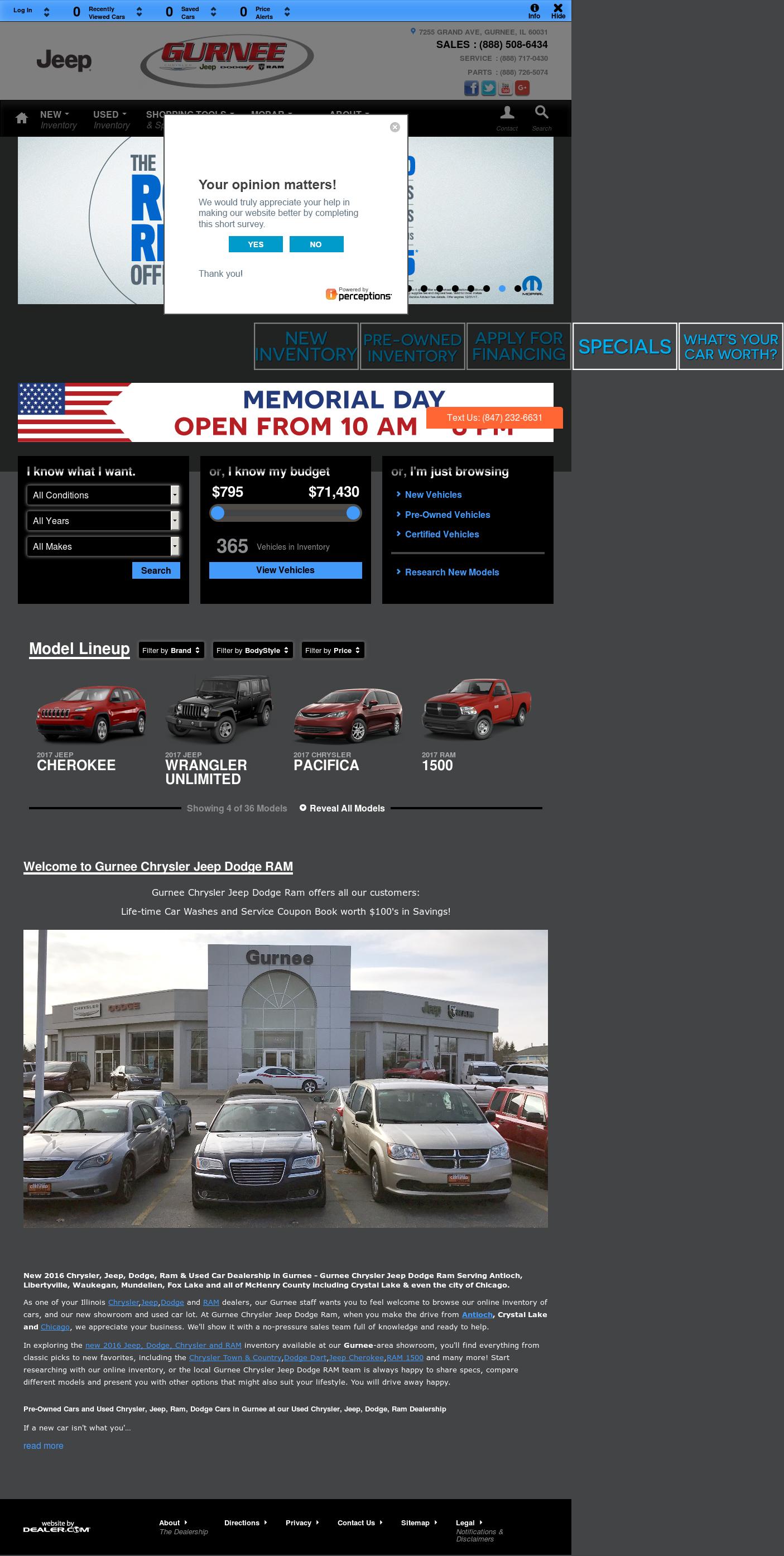Gurnee Dodge Chrysler Jeep RAM Website History
