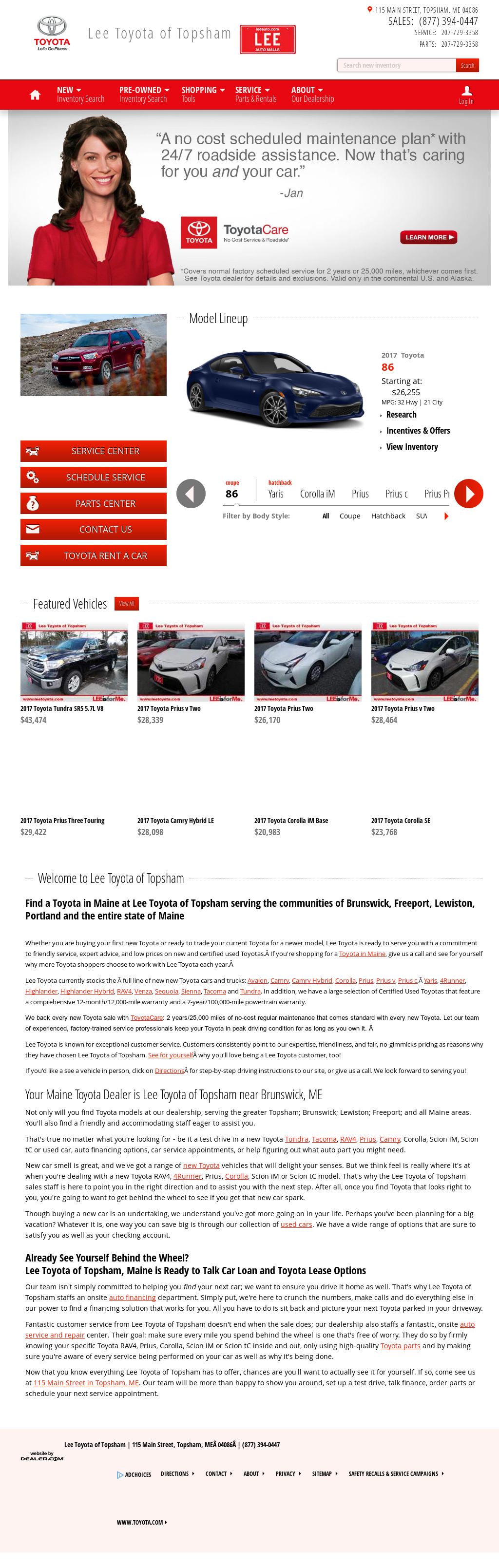 Lee Toyota Of Topsham Competitors Revenue And Employees Owler