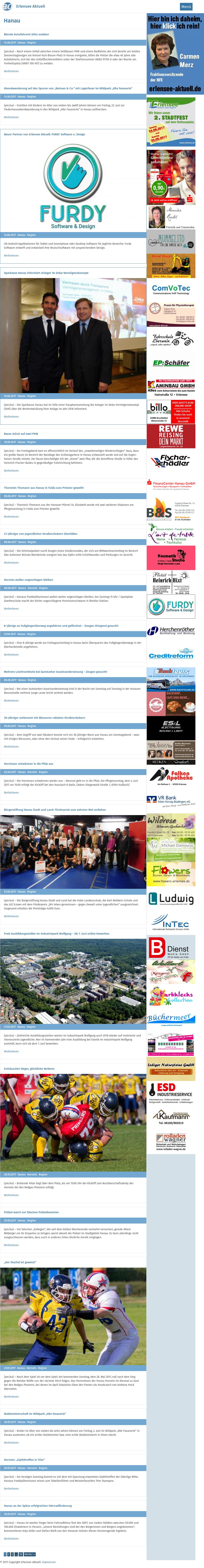 Hanau Aktuell's website screenshot on Jun 2017