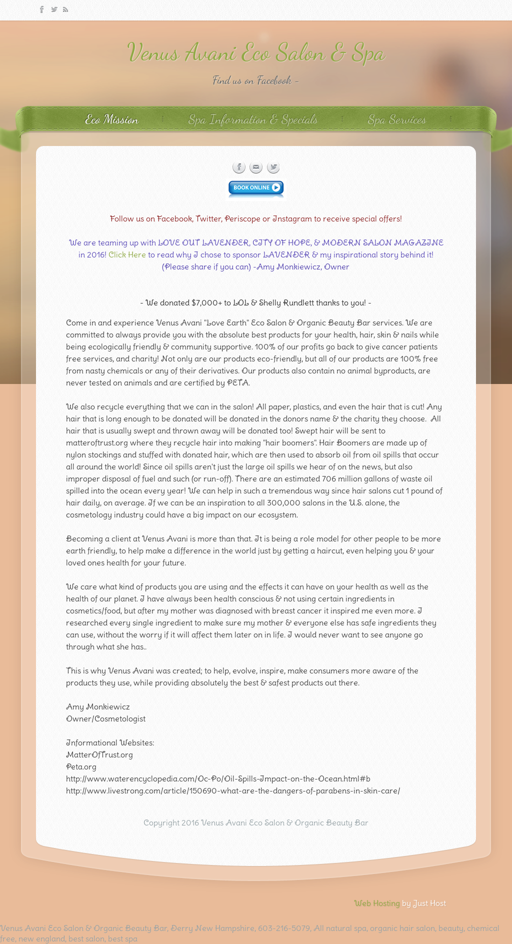 Venus Avani Eco Salon & Organic Beauty Bar Competitors, Revenue and