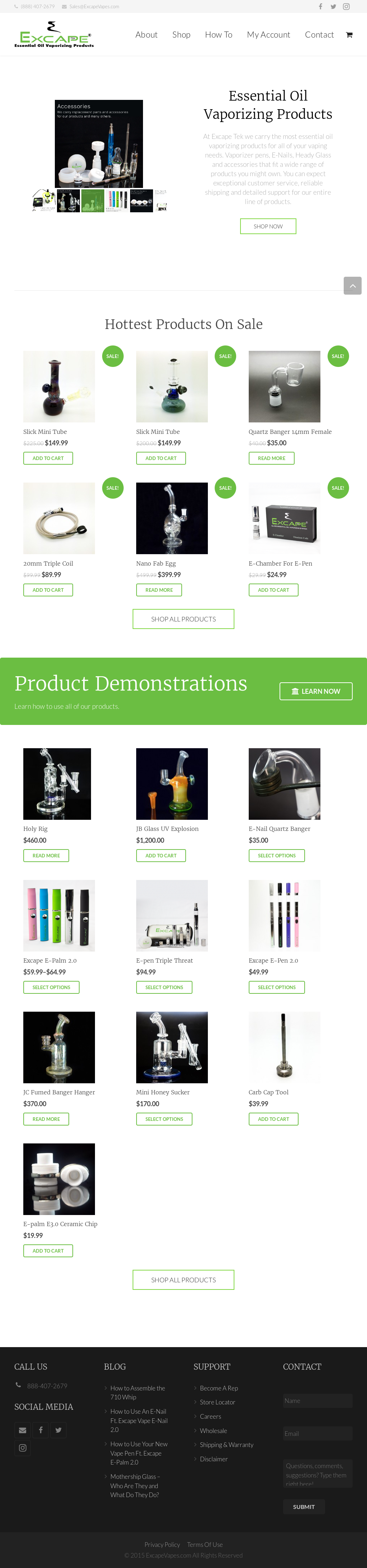 Excape Tek Essential Oil Vaporizing Products website history