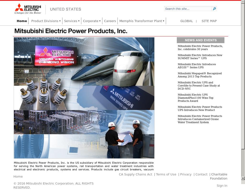 Mitsubishi Electric Power Productsu0027s Website Screenshot On Feb 2017