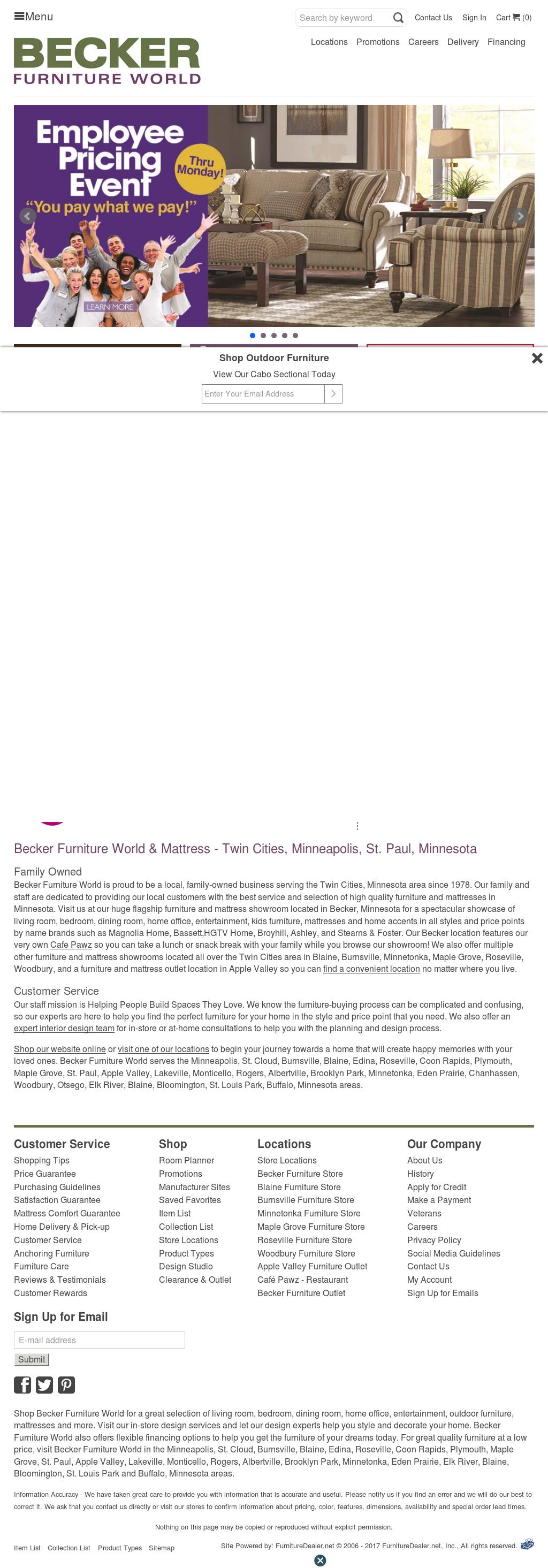 Becker Furniture Worldu0027s Website Screenshot On Sep 2017