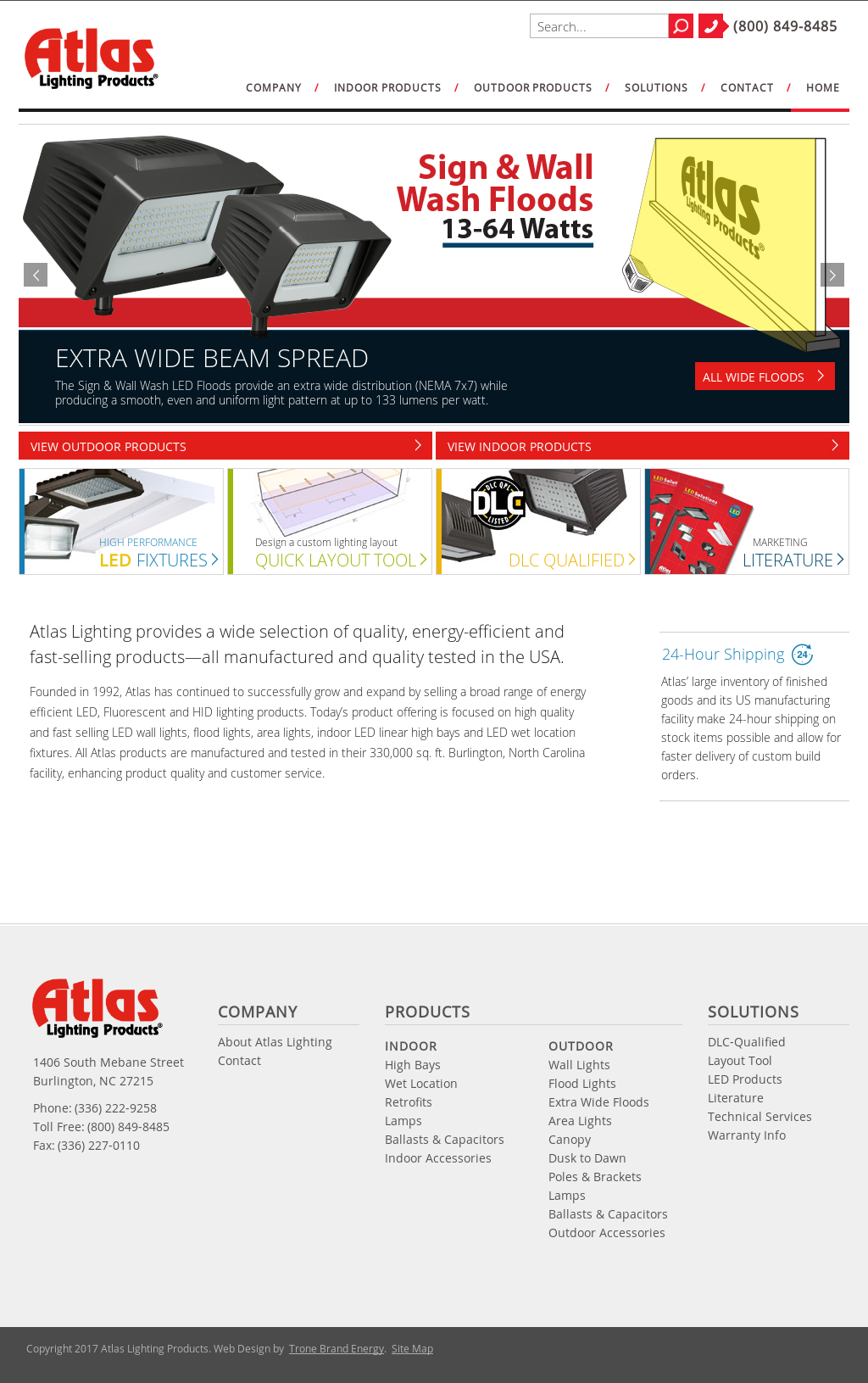 Atlas Lighting Products Website History
