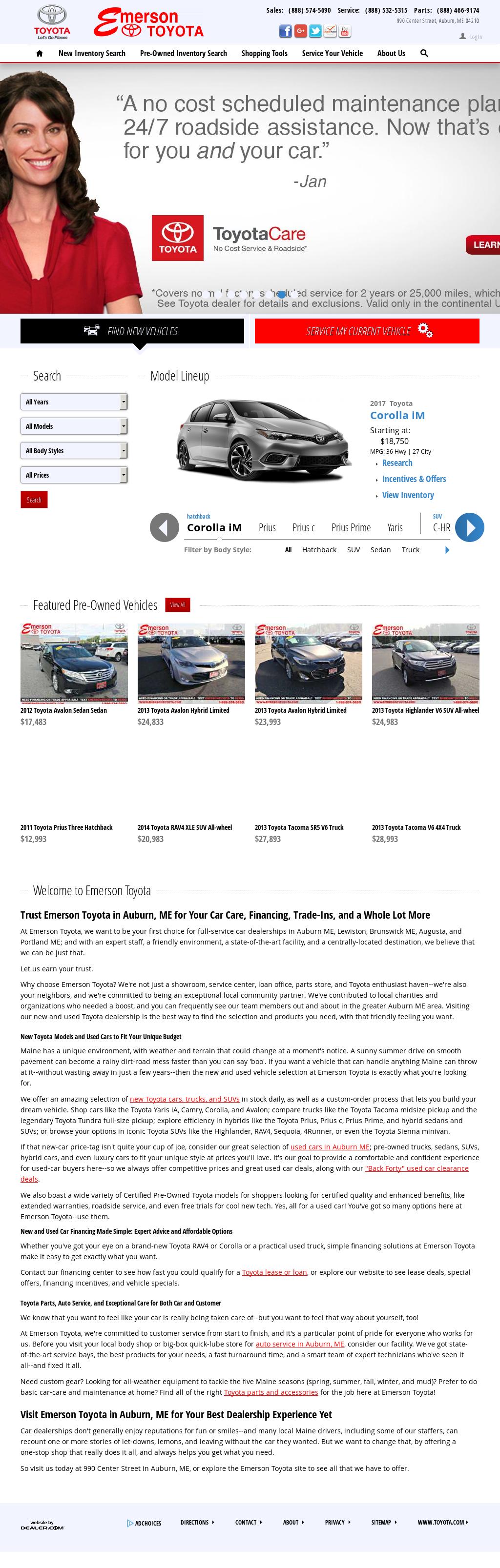 Emerson Toyota Website History