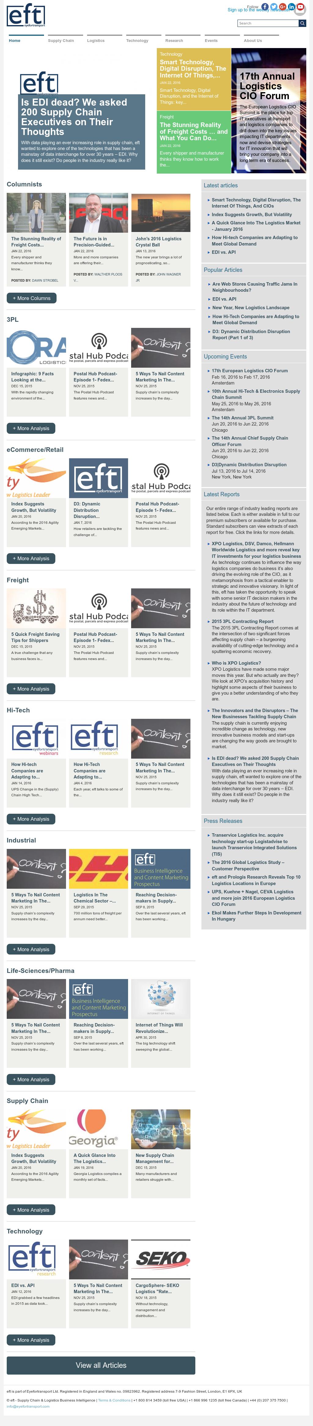 Owler Reports - Press Release: EFT : 20% of Logistics IT Executives