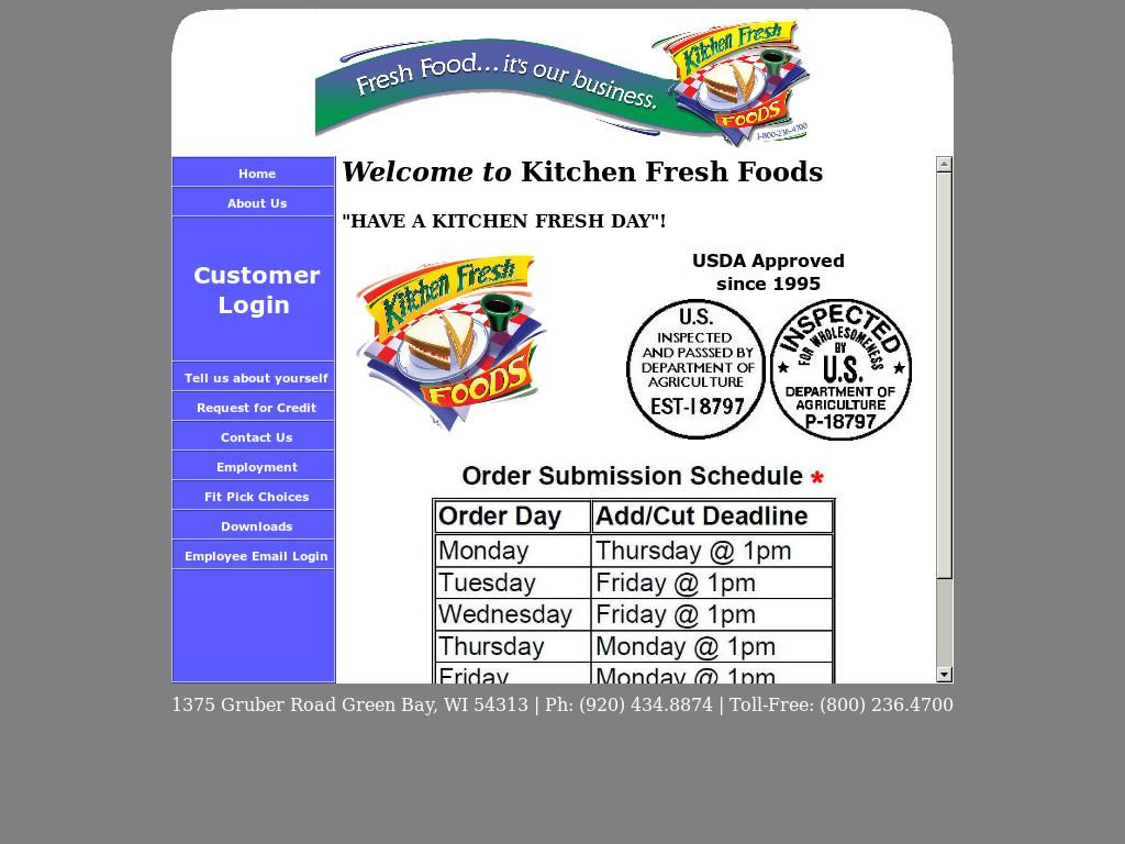 Kitchen Fresh Foods Website History