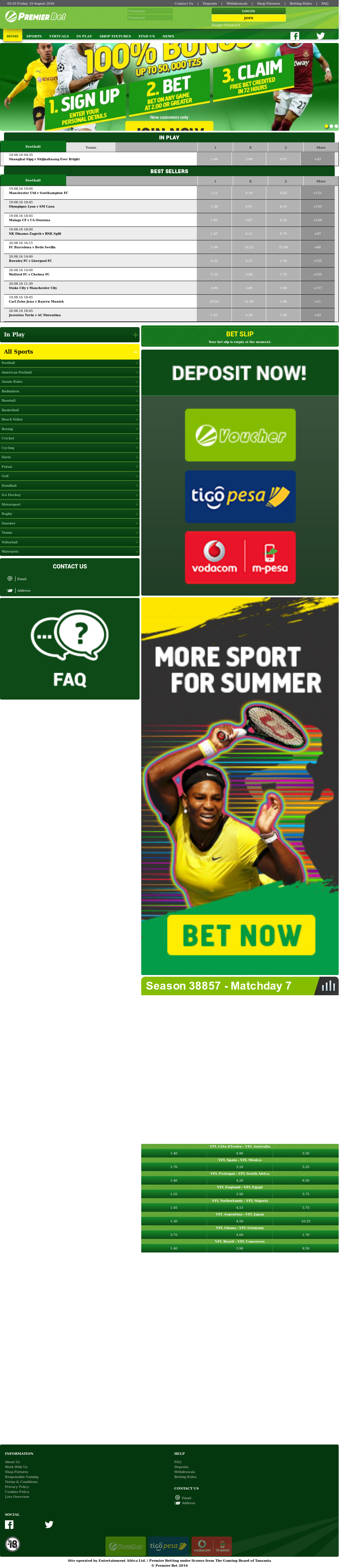 Premier betting tanzania results of texas is sports betting legal in california