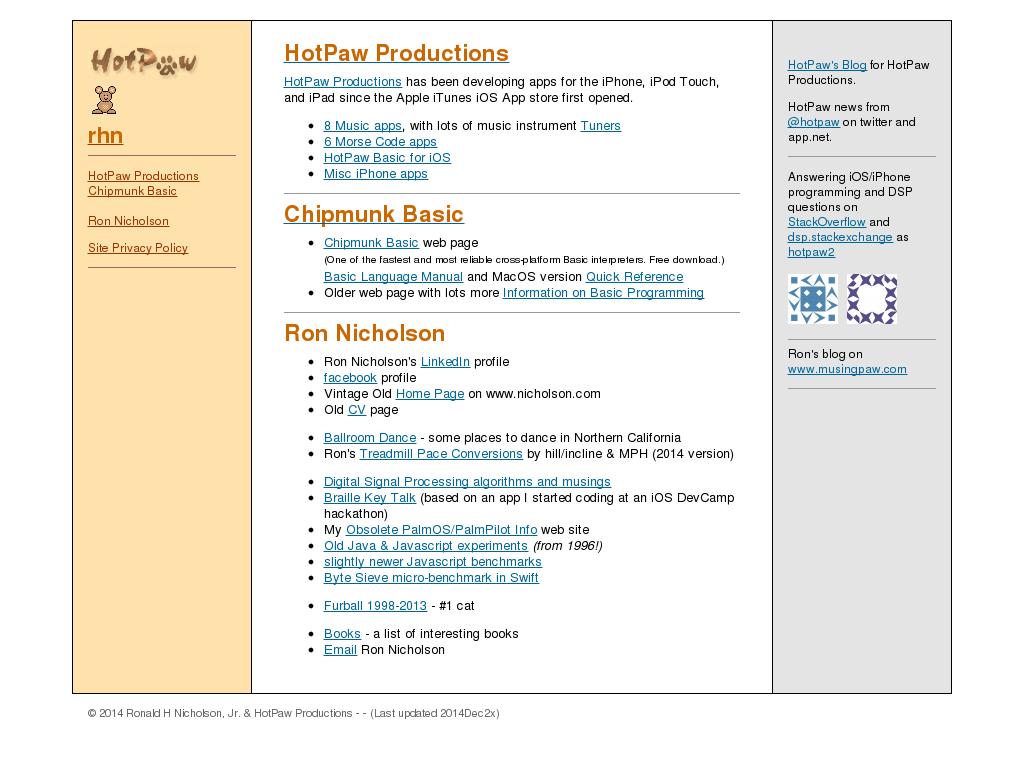Ronald H Nicholson, Jr  & Hotpaw Productions Competitors