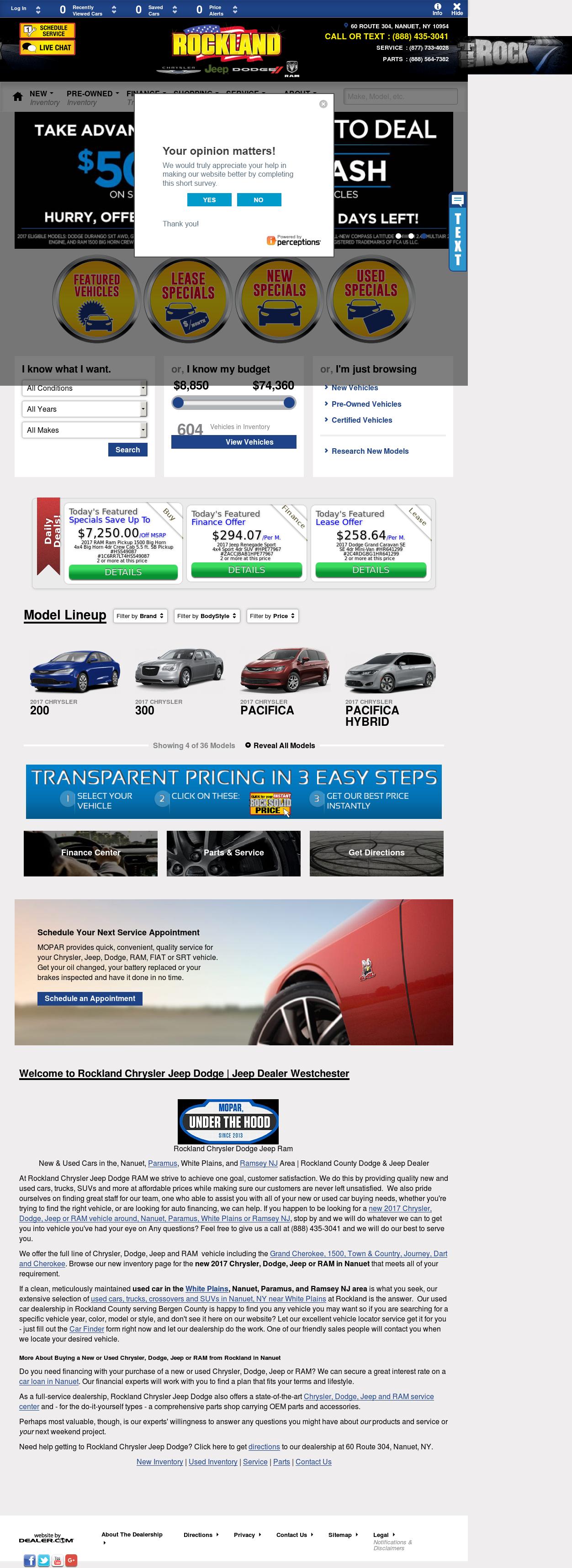 Rockland Chrysler Jeep Dodge Website History