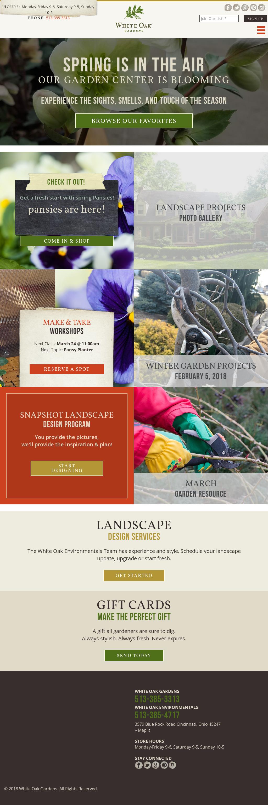 white oak garden center website history - White Oak Garden Center