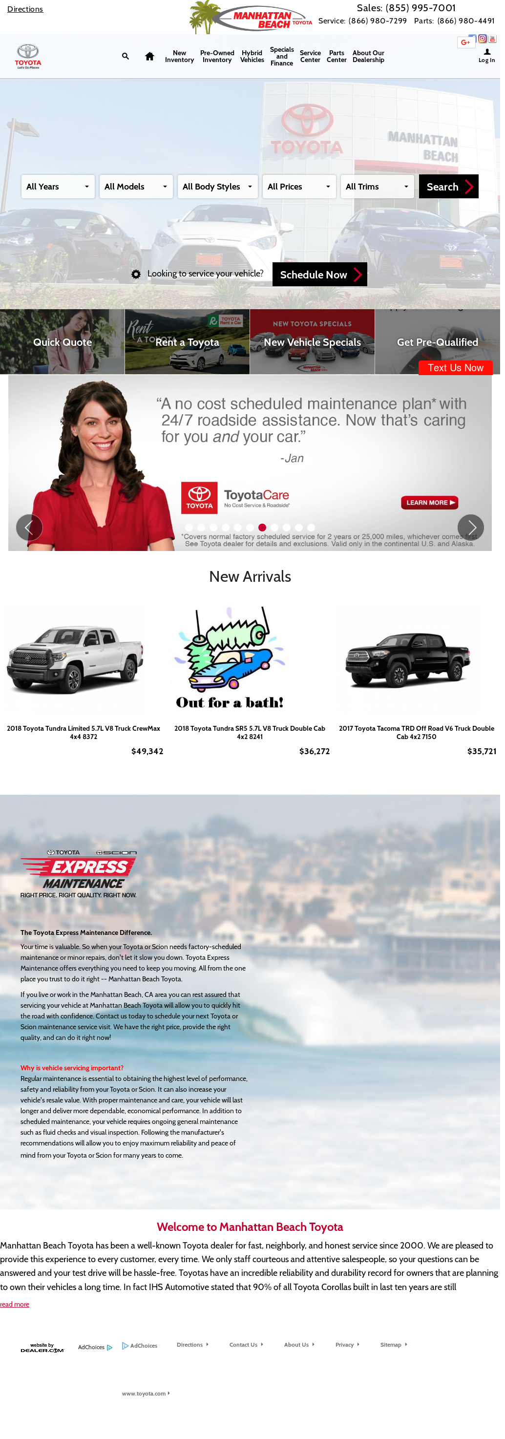 Manhattan Beach Toyota Website History