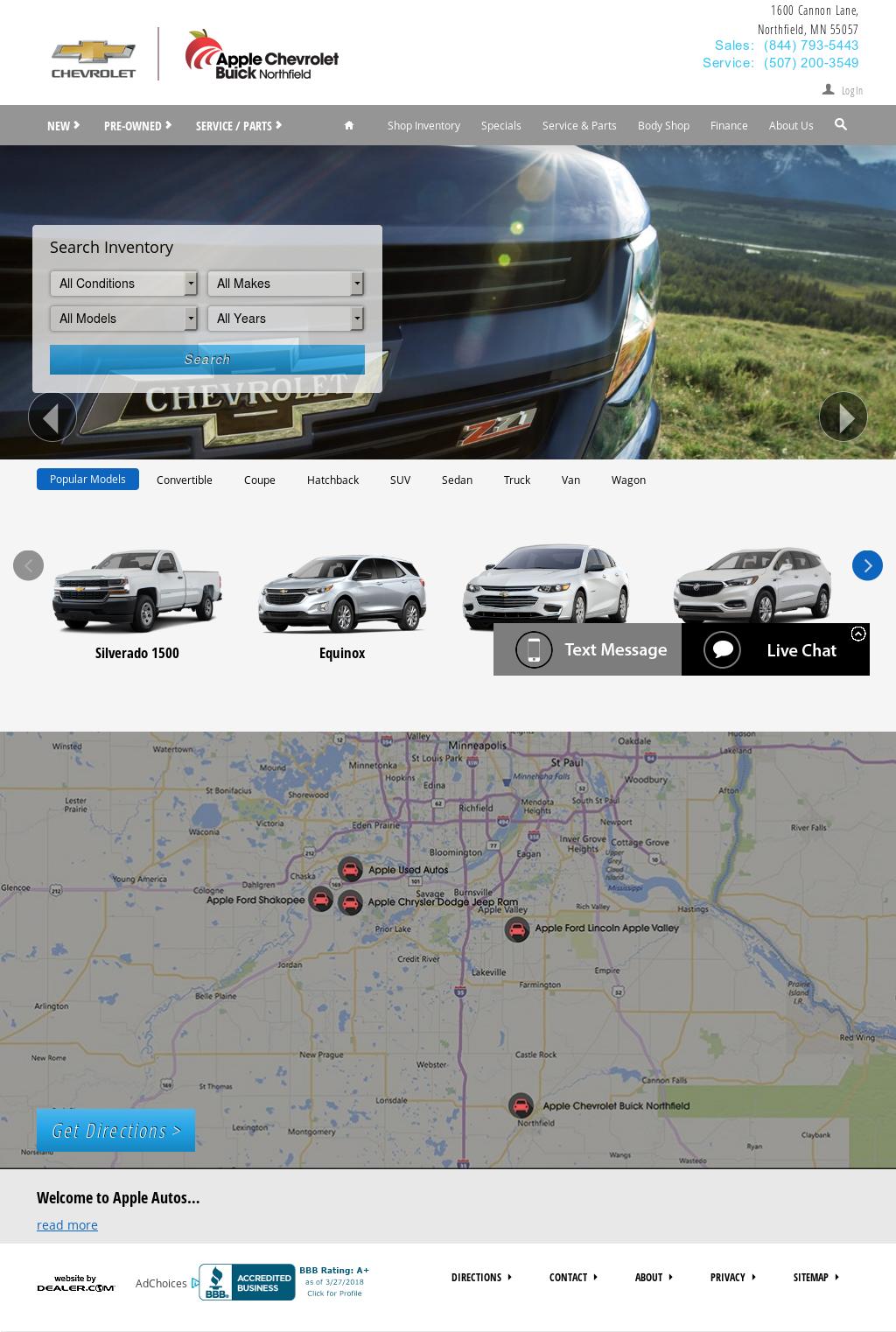 Apple Chevrolet Buick Northfield Website History