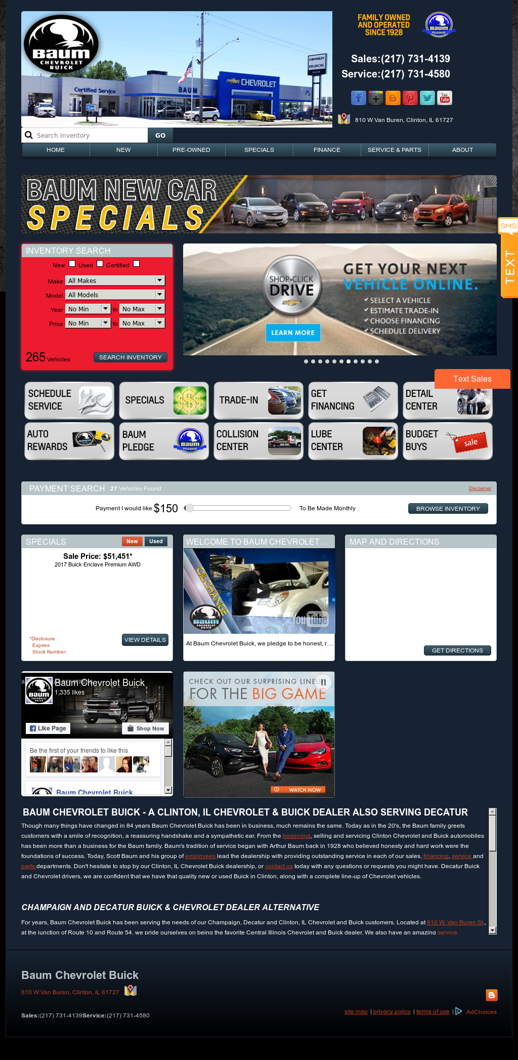 Baum Chevrolet Buick Website History