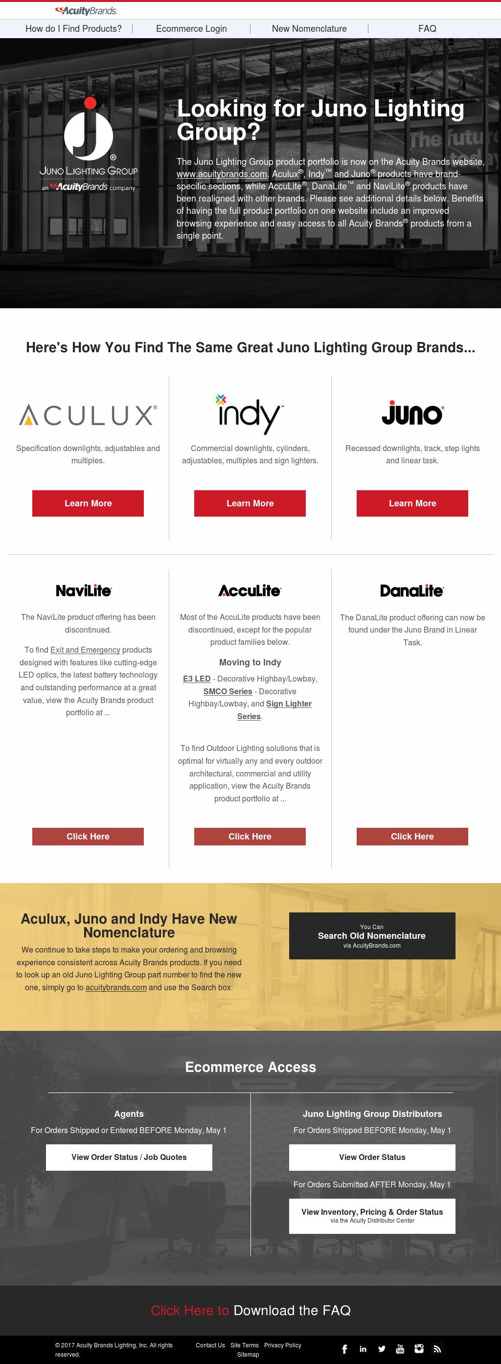 Juno Lighting Group Website History